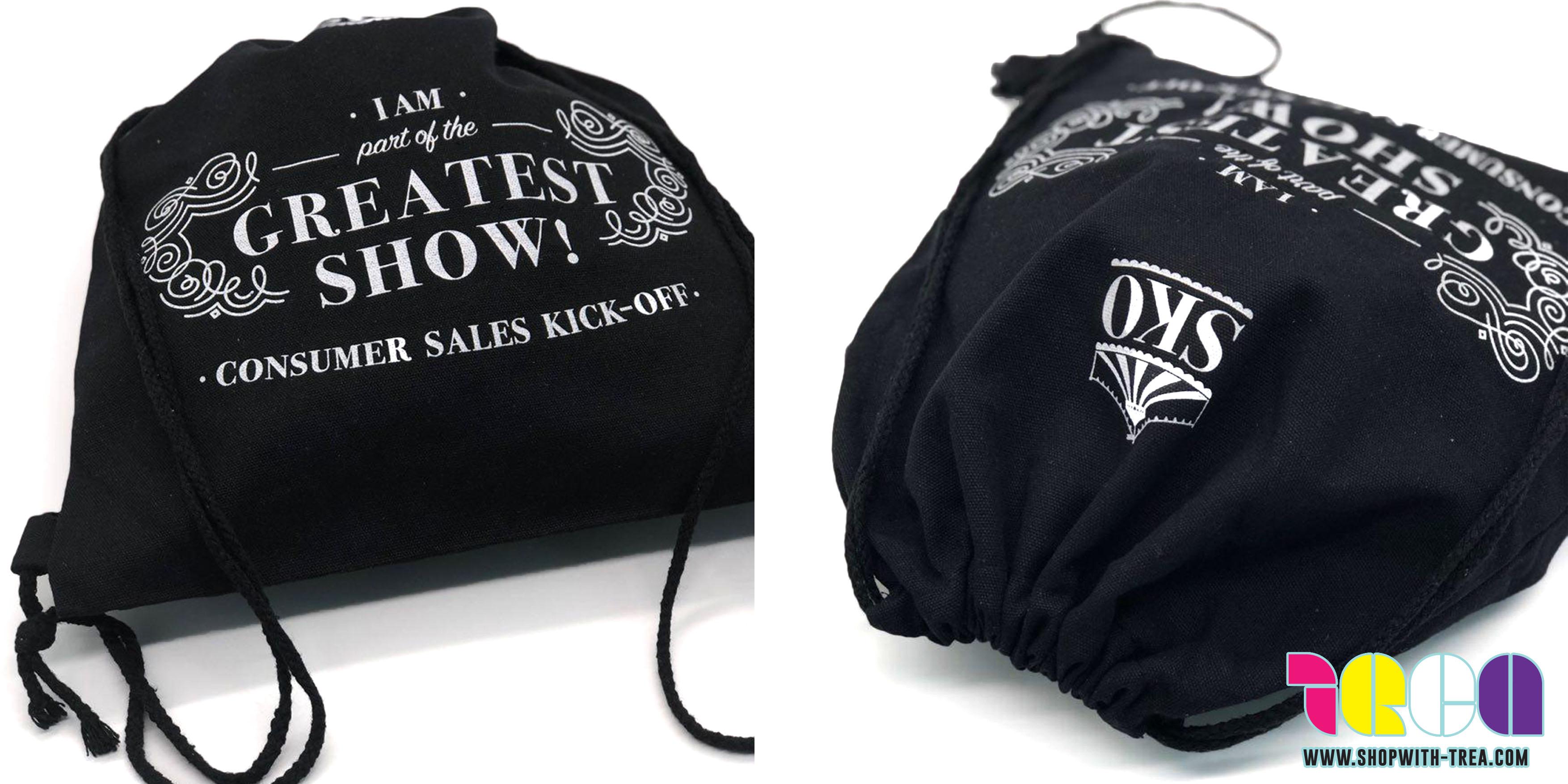 Personalised Black Drawstring bag