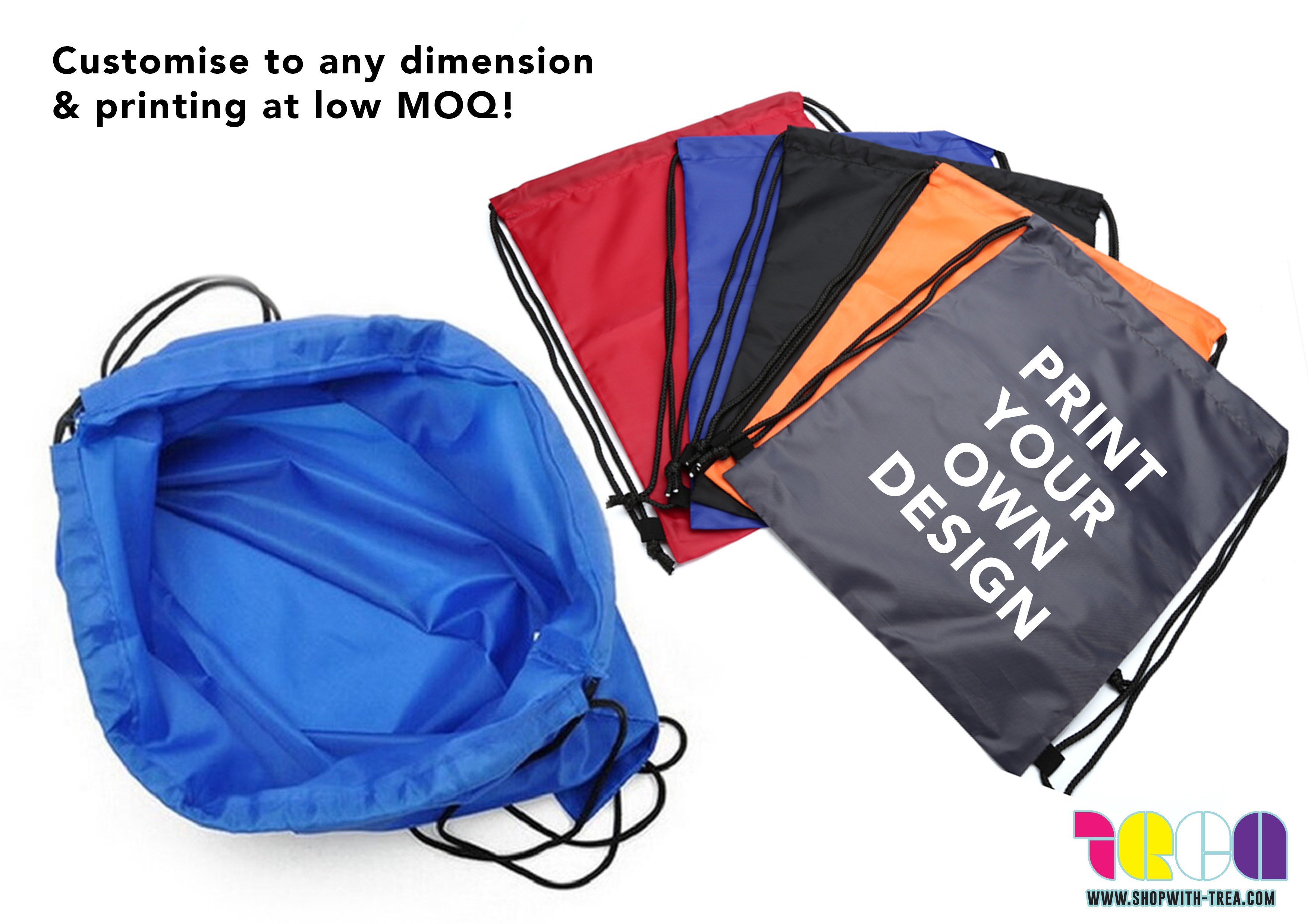 Customise polyester nylon Drawstring bag